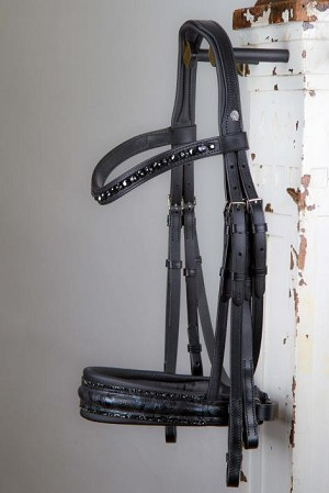 OS Comfort XS double bridle with Flower print and fineline crystal piping