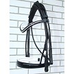 Otto Schumacher rolled double bridle, black with white padding and patent. XL noseband and crystal browband
